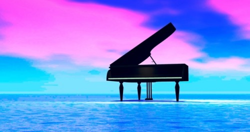 crop piano sunset